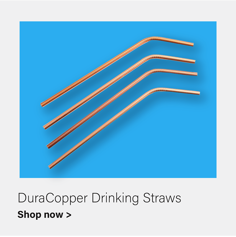 DuraCopper® Drinking Straws with Cleaning Brush, Set of 4