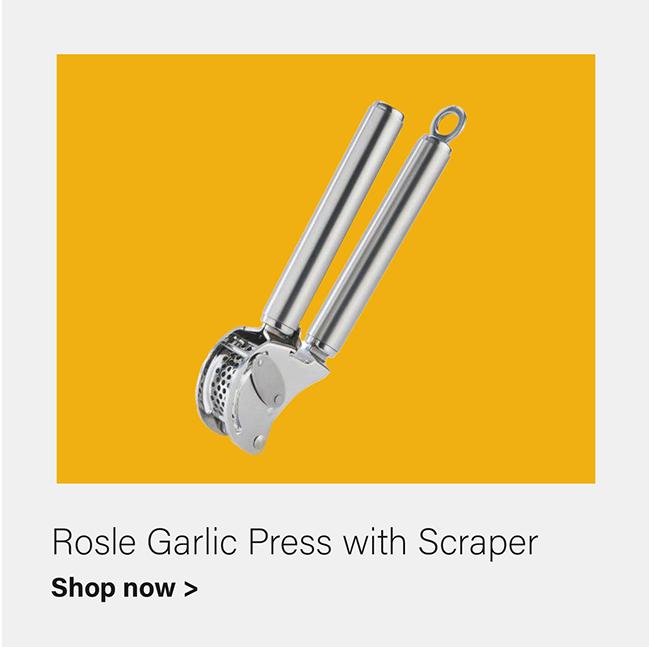 RÖSLE - Garlic Press with Scraper 18/10 Stainless Steel