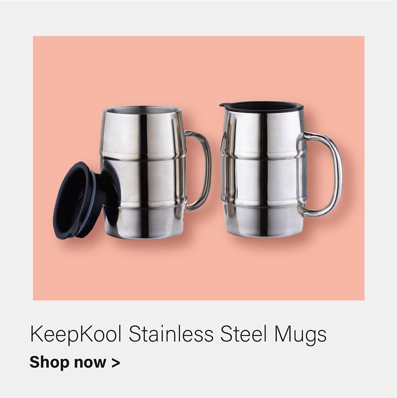 KeepKool® Stainless Steel Mugs with Lids, Set of 2, 16 Oz.