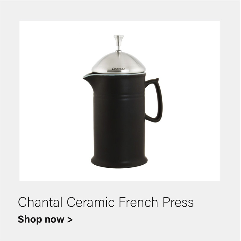 Chantal 28-oz Ceramic French Press with Stainless Steel Plunger & lid