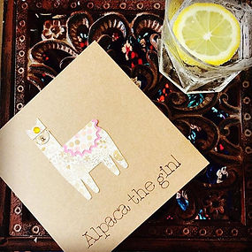 Alpaca the gin handcrafted card