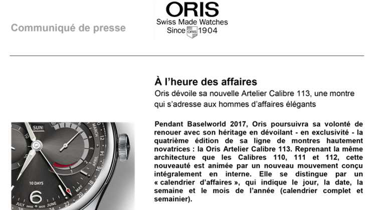montre complication oris artelier calibre oris 113