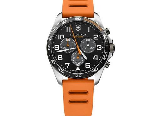 Victorinox Fieldforce montre chronographe sport homme bracelet caoutchouc orange