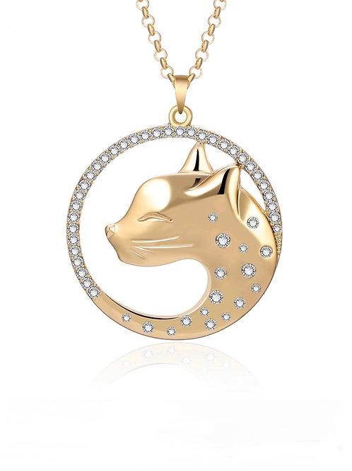 Collier Cat strass  Zirconium en bronze et métal plaqué Or 18K
