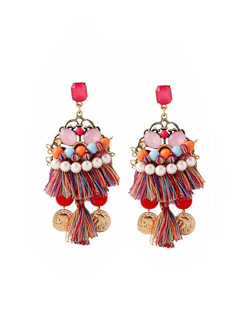 Boucles d'oreilles Colorful  pendantes strass en céramique acétate et plastique