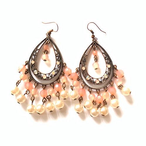 Boucles d'oreilles en métal bronze perles strass