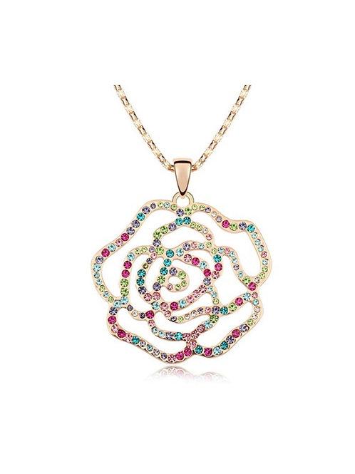 Collier Rose Colorful cristal en plaqué Or Rose