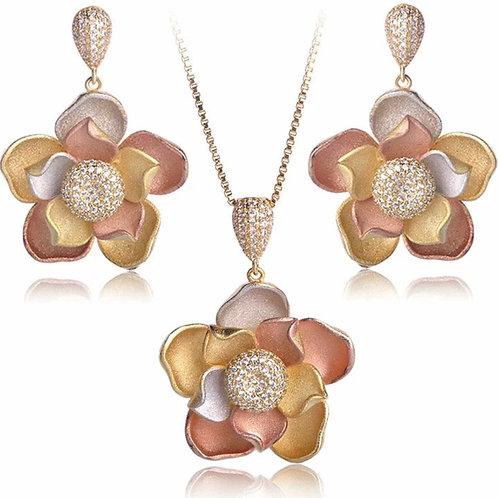 Set bijoux Collier Boucles d'oreille mariage fleurs de rêve  Swarovski éléments