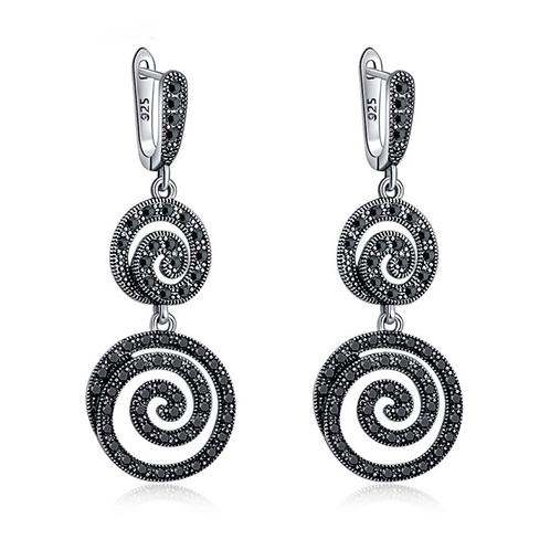 Boucles d'oreilles pendantes Vintage en Argent Massif  925 Swarovski éléments