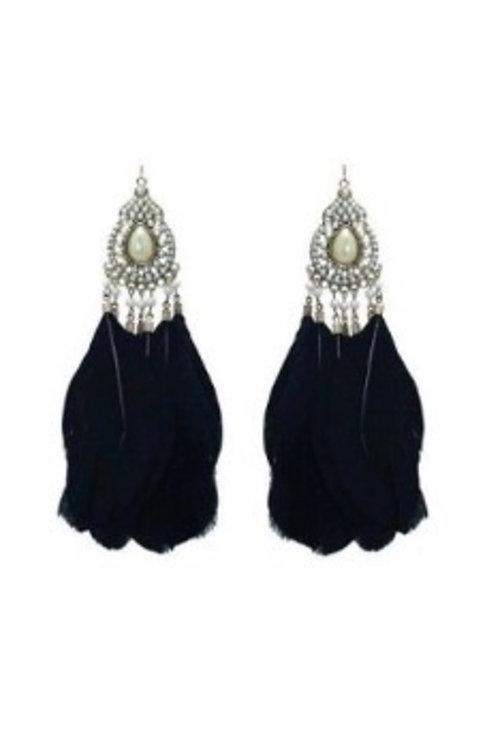 Boucles d'oreilles en métal et plumes strass perles