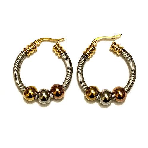 Boucles d'oreilles Créoles en titane et cuivre Argent 925 multicolores