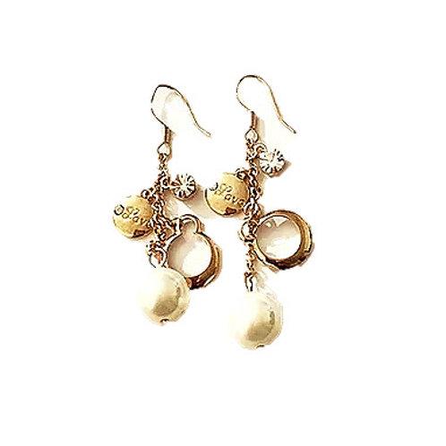 Boucles d'oreilles pendantes  strass Bronze en plaqué Or