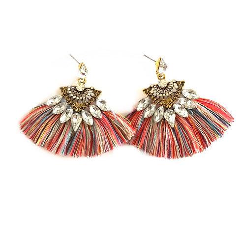 Boucles d'oreilles Colorful  en bronze doré strass cristaux autrichiens