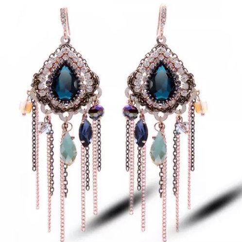 Boucles d'oreilles strass cristaux Swarovski éléments plaqué Or 14 K