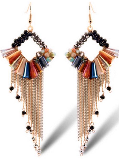 Boucles d'oreilles Colorful ethnique en plaque Or 14K strass