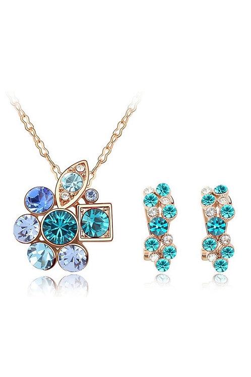 Set Bijoux - Collier Boucles d'oreilles cristaux Swarovski en plaqué Or Rose