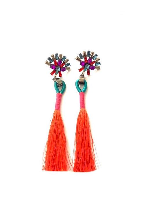 Boucles d'oreilles pendantes multicolores fil et strass cristaux