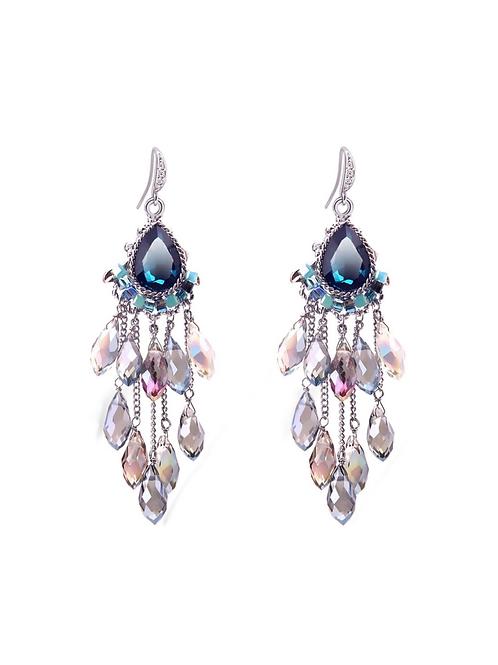 Boucles d'oreille Colorful strass cristal en plaqué Or blanc