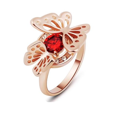 Bague à Part cristal Swarovski  éléments  Red en plaqué Or Rose