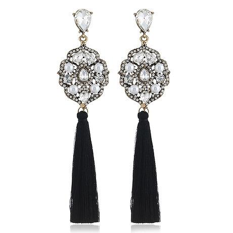 Boucles d'oreilles pendantes strass Swarovski éléments perles et fil