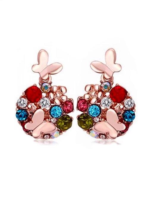 Boucles d'oreilles plaqué Or rose 18K strass Swarovski éléments