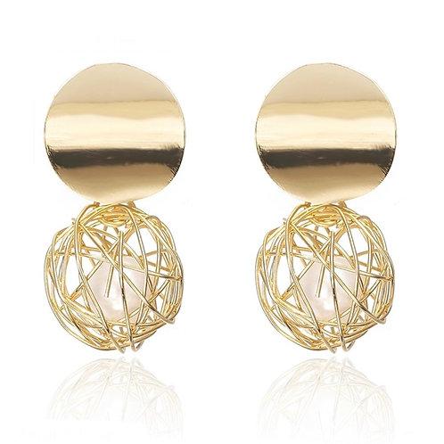 Boucles d'oreilles en plaqué Or 14K boules perles blanches
