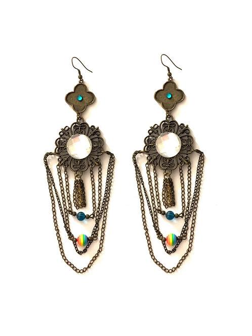Boucles d'oreilles en bronze et métal
