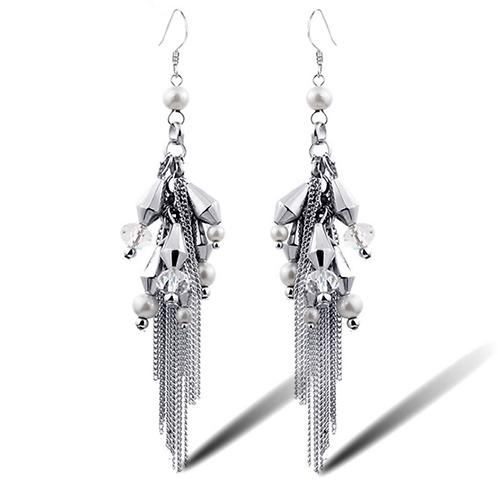 Boucles d'oreilles pendantes Perles nacrées blanches plaqué Argent 925