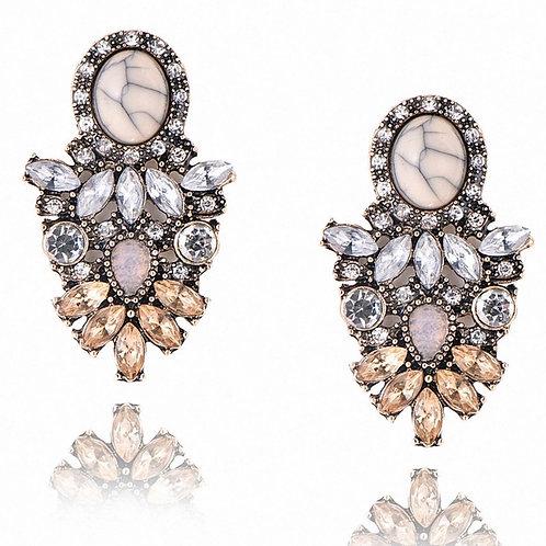 Boucles d'oreilles bronze cristaux autrichiens