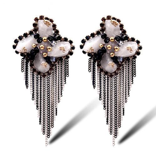 Boucles d'oreilles fleurs  strass Cristal en céramique et acétate plaqué Or 14K