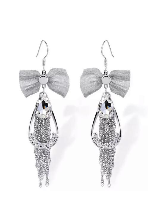 Boucles d'oreilles Papillon  strass cristaux Swarovski plaqué argent
