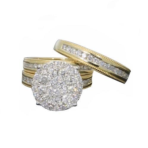 Bague fiançaille 2 in 1 strass zirconium en plaqué Or jaune Massif 18K anneau