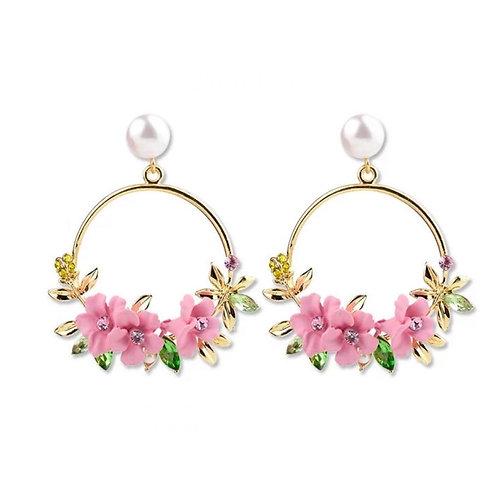 Boucles d'oreilles creole perles cristal plaqué Or 14K