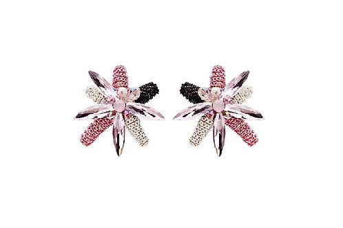 Boucles d'oreilles rose en cristal et acétate fleurs de rêve