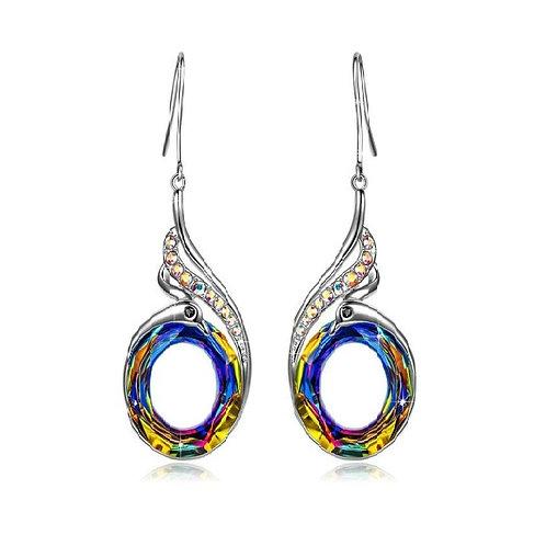 Boucles d'oreilles pendantes en argent massif 925 cuivre platine strass cristaux