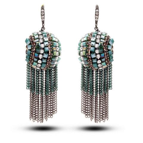 Boucles d'oreilles pendantes strass Swarovski cristal plaqué Argent Noir 925