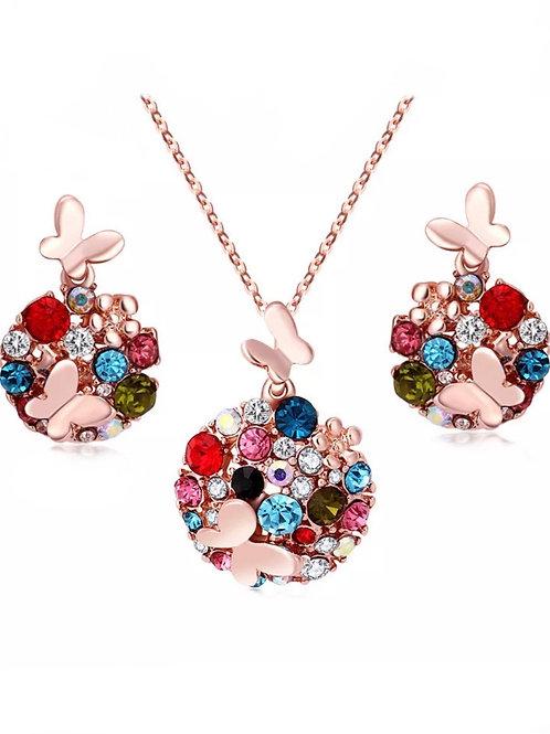 Set collier et boucles d'oreilles plaqué Or rose