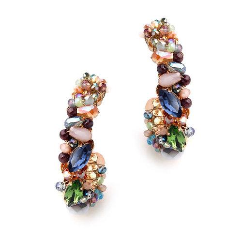 Boucles d'oreilles creoles cuivre Or 14K strass cristal