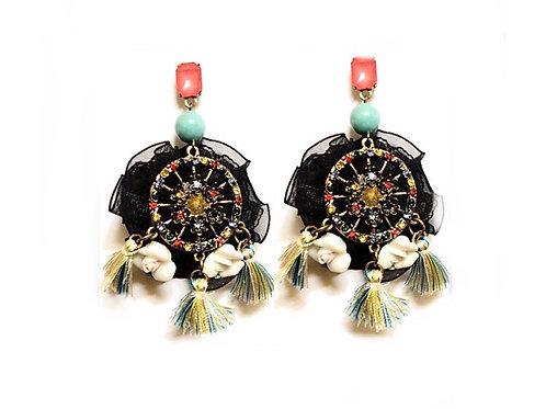 Boucles d'oreilles strass en céramique et bronze Colorful Chic and Go