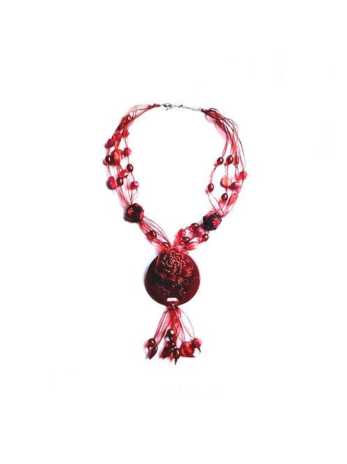 Collier rouge en Acétate et Céramique style Fleur