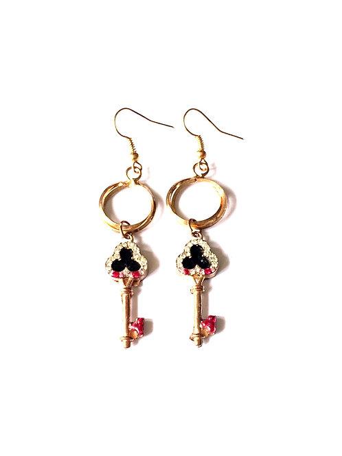 Boucles d'oreilles pendantes strass Colorful Key Gold