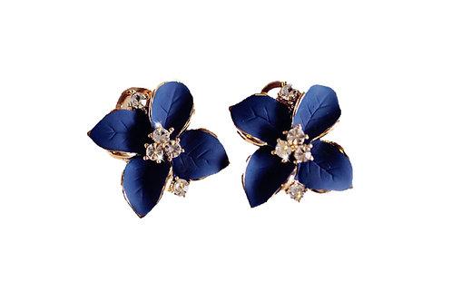 Boucles d'oreilles Cristal  bronze Plaqié Or 14K fleurs de rêve bleu céramique