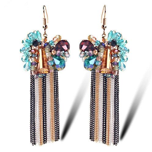 Boucles d'oreilles pendantes strass en céramique acétate et cristal