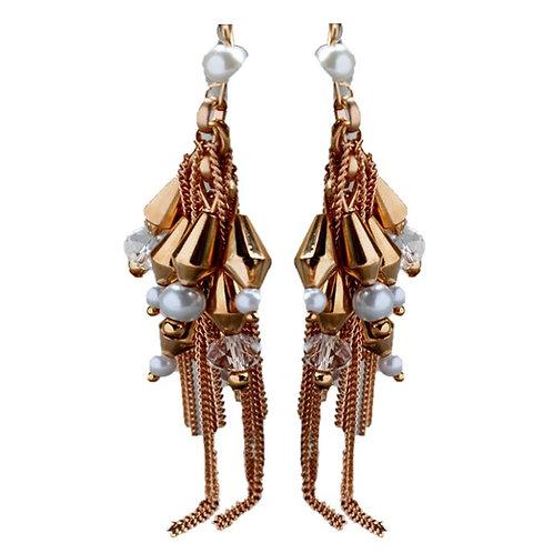 Boucles d'oreilles pendantes Perles nacrées blanches plaqué Or Rose 18 K