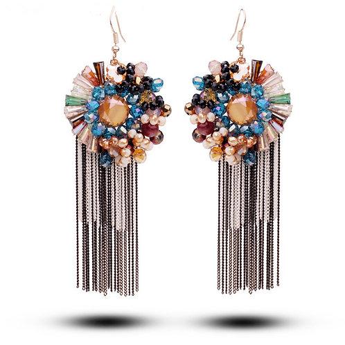 Boucles d'oreilles pendantes  strass cristal, acétate et céramique Multicolores