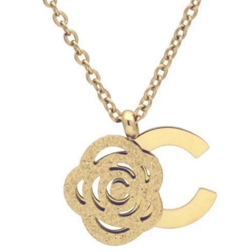 Collier en bronze plaqué Or rose 14 K pendentif fleur rose