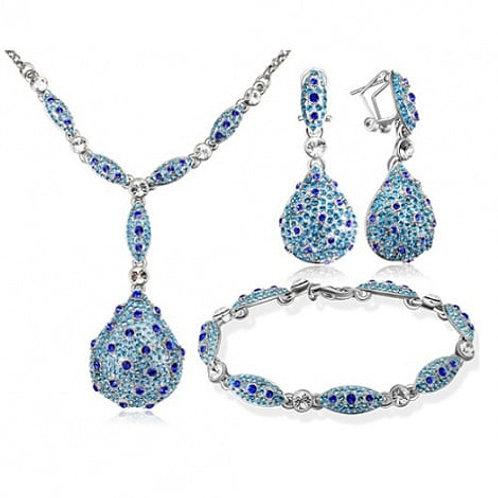 Costume Jewelry Set New Parure bijoux en Plaqué Or Blanc Massif Swarovski style
