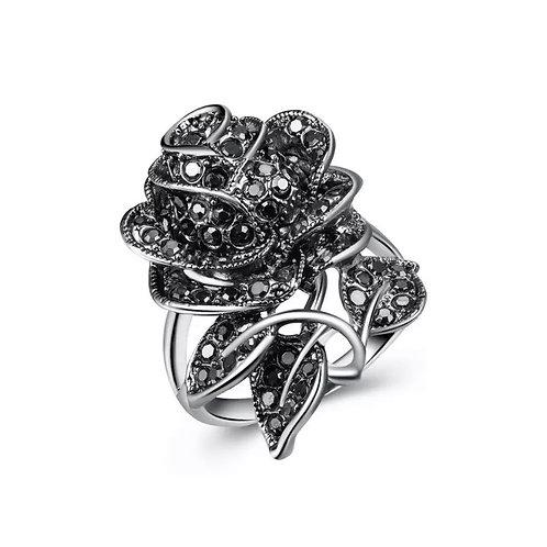 Bague à Dame rose noire Colorful SILVER Sterling en Argent massif 925  strass