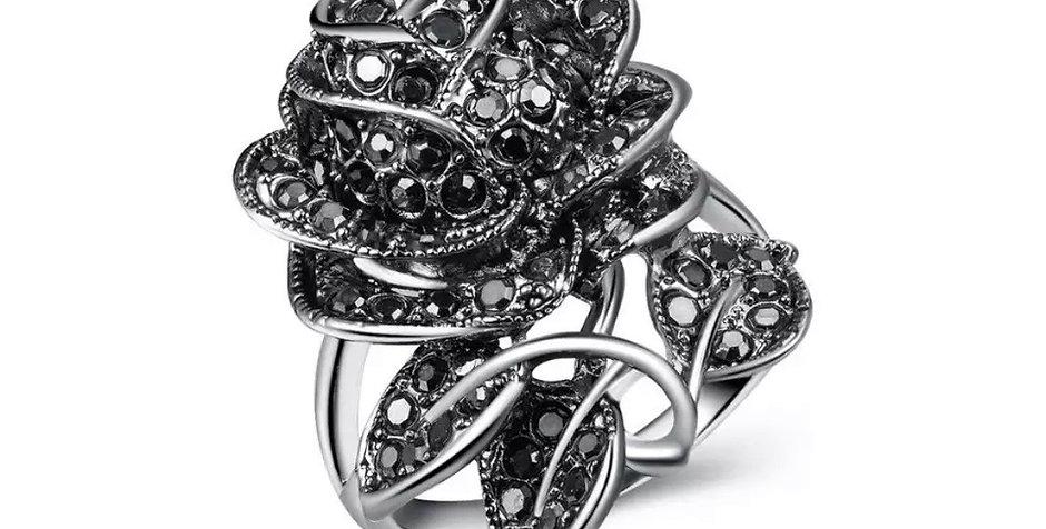 Bague à Dame Rose noire en cristal Silver Sterlling Argent massif 925 strass