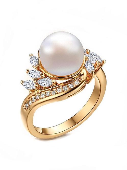 Bague à Dame perle strass en plaqué Or Swarovski éléments